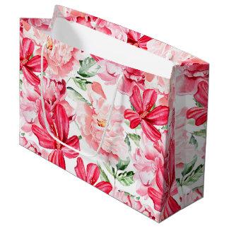 Blush Watercolor Floral Pattern Large Gift Bag