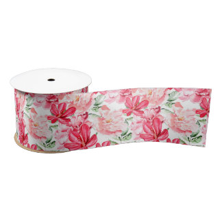 Blush Watercolor Floral Pattern Satin Ribbon