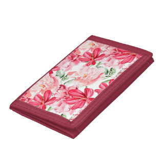 Blush Watercolor Floral Pattern Tri-fold Wallet
