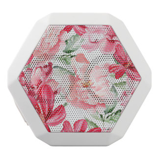 Blush Watercolor Floral Pattern White Bluetooth Speaker