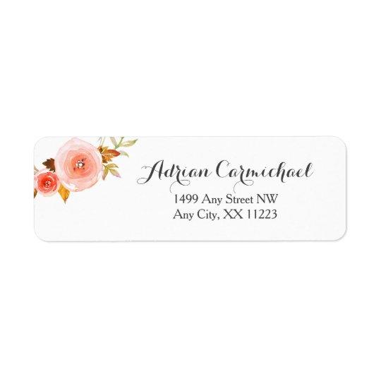 Blush Watercolor Floral wedding 3605b Return Address Label