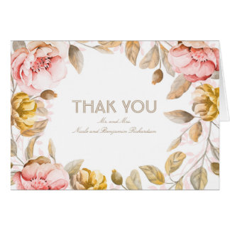 Blush Watercolor Flowers Decor Wedding Thank You Card