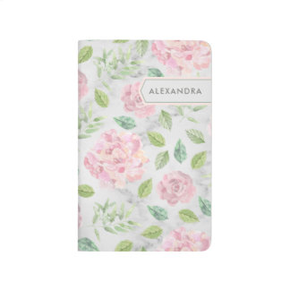 Blush Watercolor Flowers on Faux Marble Journal