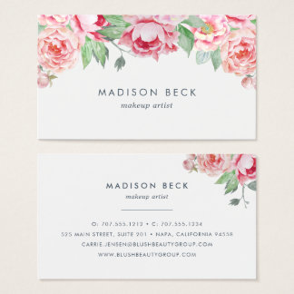 Blush Watercolor Peony Business Card