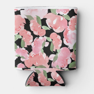 Blush Watercolor Peony Can Cooler
