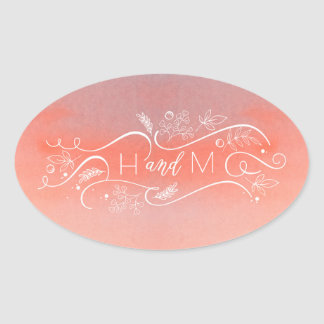 Blush Watercolors Elegant Modern Wedding Oval Sticker