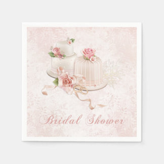 Blush Wedding Cakes with Roses Paper Serviettes