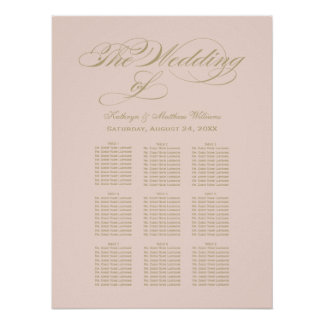 Blush Wedding Seating Chart | Gold Calligraphy Poster