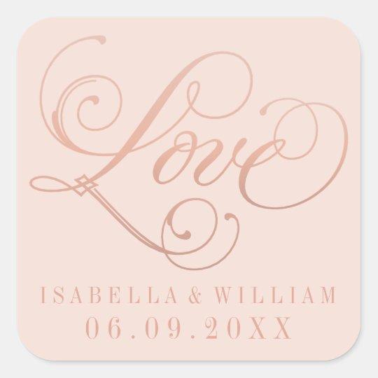 Blush Wedding Stickers   Love in Rose Gold