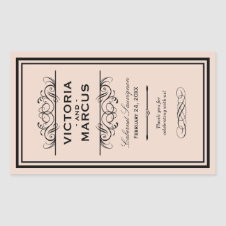 Blush Wedding Wine Bottle Monogram Favour Labels Rectangular Sticker