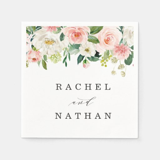 Blush White Bloom Watercolor Floral Wedding Disposable Napkin