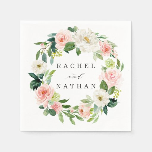 Blush White Bloom Watercolor Floral Wreath Wedding Disposable Napkin