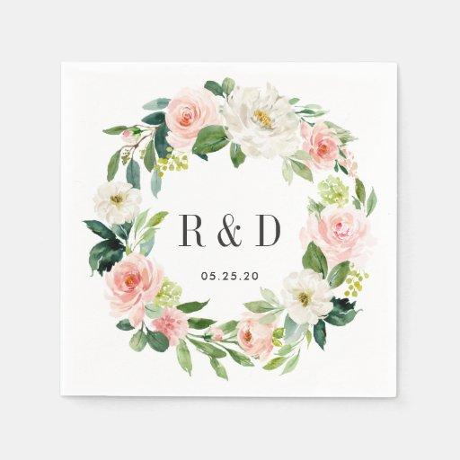 Blush White Bloom Watercolor Floral Wreath Wedding Disposable Napkin
