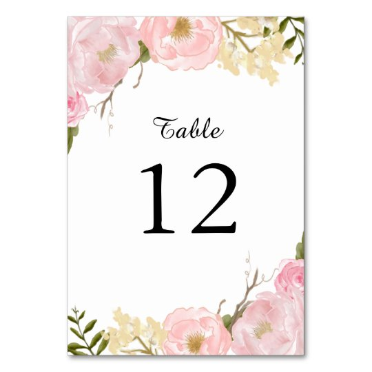 Blush White Botanical Floral Table Number Card