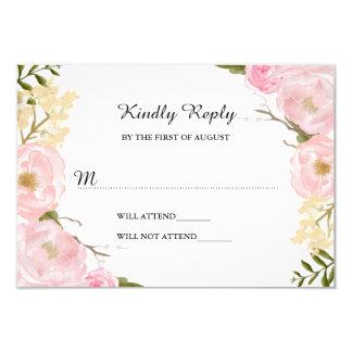Blush White Botanical Floral Wedding RSVP 9 Cm X 13 Cm Invitation Card