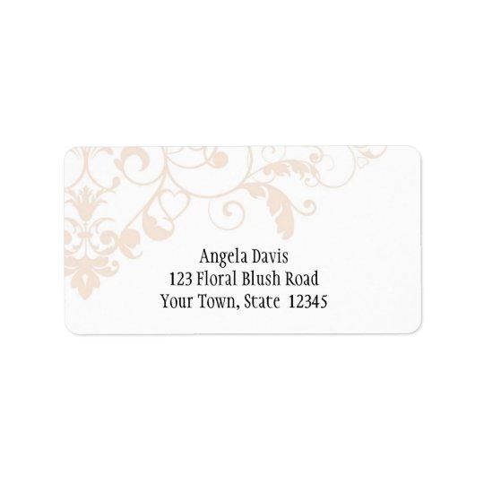 Blush White Elegant Flourish Address Label