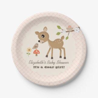 Blush Woodland Deer Baby Girl Shower 7 Inch Paper Plate