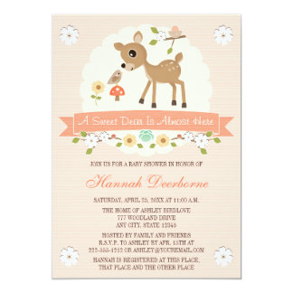 BLUSH WOODLAND DEER BABY SHOWER INVITATIONS