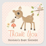 Blush Woodland Deer Baby Shower Thank You Stickers