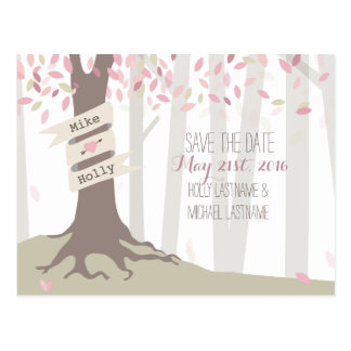 Blush Woodland Wedding Save The Date Postcard