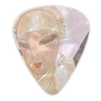 Blushing Bride Vintage Art Deco Illustration Pearl Celluloid Guitar Pick