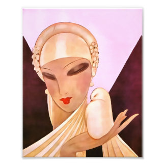 Blushing Bride Vintage Art Deco Illustration Photo Print