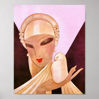 Blushing Bride Vintage Art Deco Illustration Poster