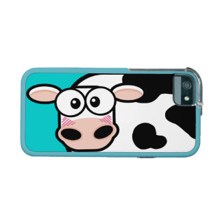 Blushing Cartoon Cow on Turqouise Case For iPhone 5/5S