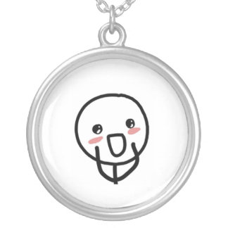 Blushing Comic Face Round Pendant Necklace