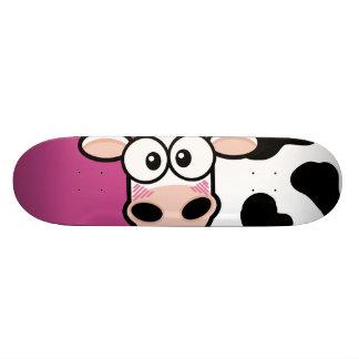Blushing Cow on Pink Skateboard