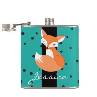 Blushing Fox and Dots Pattern Hip Flask