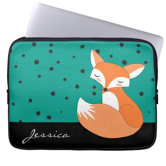 Blushing Fox with Custom Name Laptop Sleeve