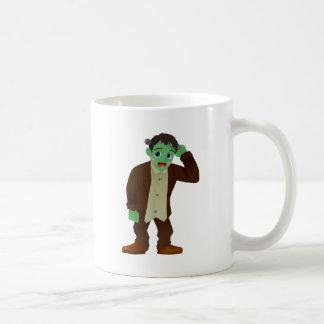 Blushing Frankenstein's Monster Scratching Head Basic White Mug