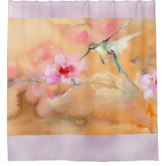 """Blushing"" Hummingbird Print Shower Curtain"