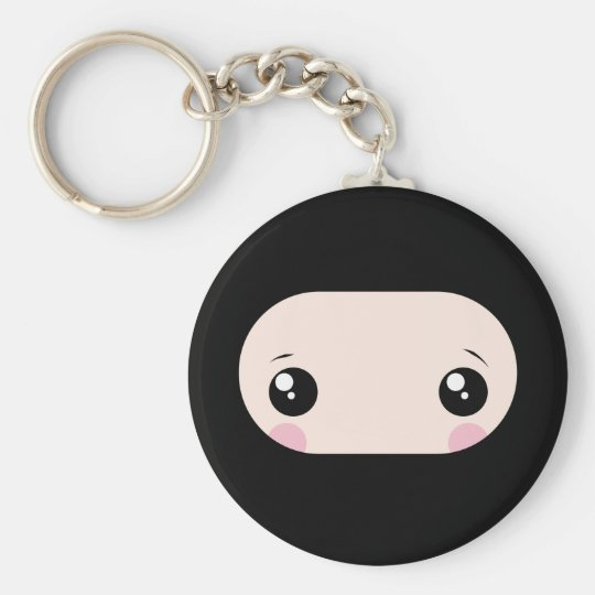 Blushing Kawaii Ninja Basic Round Button Key Ring