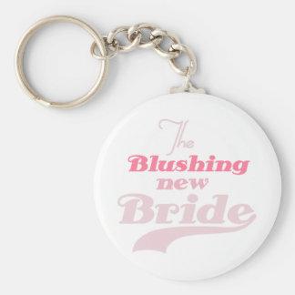 Blushing New Bride Basic Round Button Key Ring