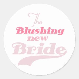 Blushing New Bride Round Sticker