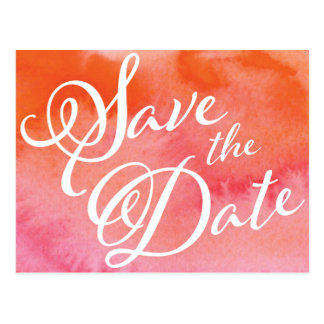 Blushing Peach Watercolor Save The Date Postcard