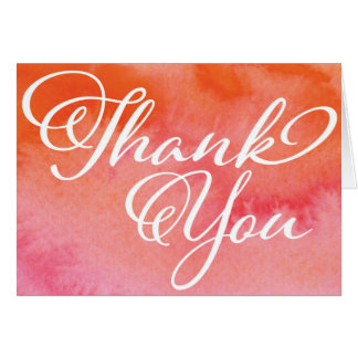 Blushing Peach Watercolor Thank You Photo Card