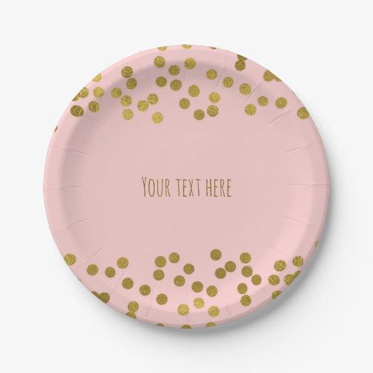 Blushing Pink & Gold Faux Foil Confetti Dots