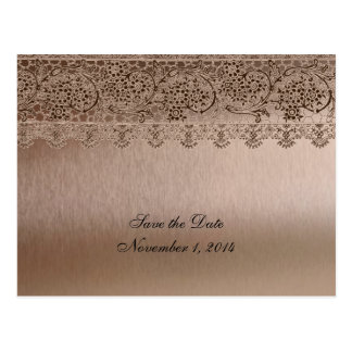 Blushing Pink Vintage Lace Save the Date Postcard