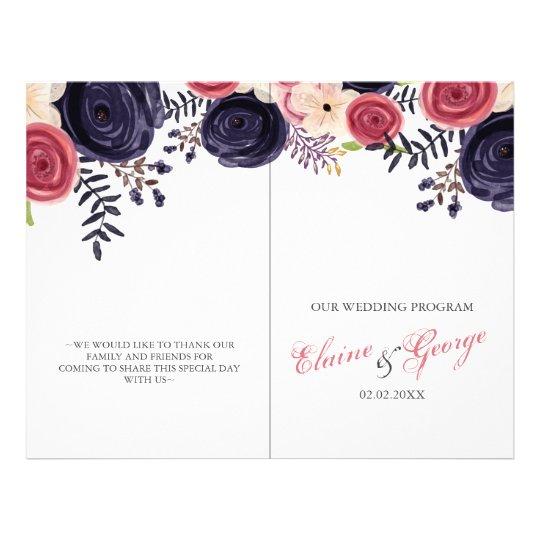 blushing red Navy floral Wedding programs Flyer
