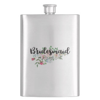 Blushing Rose Watercolor Floral Wedding Bridesmaid Hip Flask