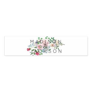 Blushing Rose Watercolor Floral Wedding Monogram Napkin Band