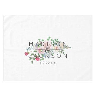 Blushing Rose Watercolor Floral Wedding Monogram Tablecloth