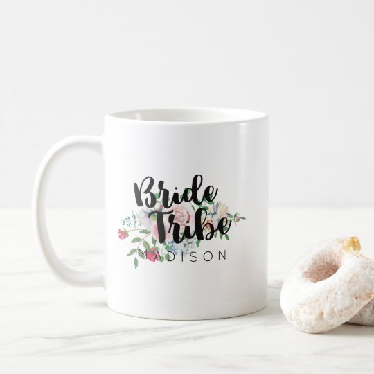 Blushing Rose Watercolor Wedding Bride Tribe Coffee Mug