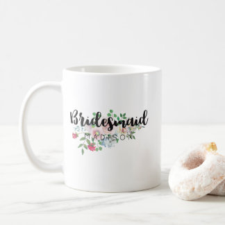 Blushing Rose Watercolor Wedding Bridesmaid Coffee Mug