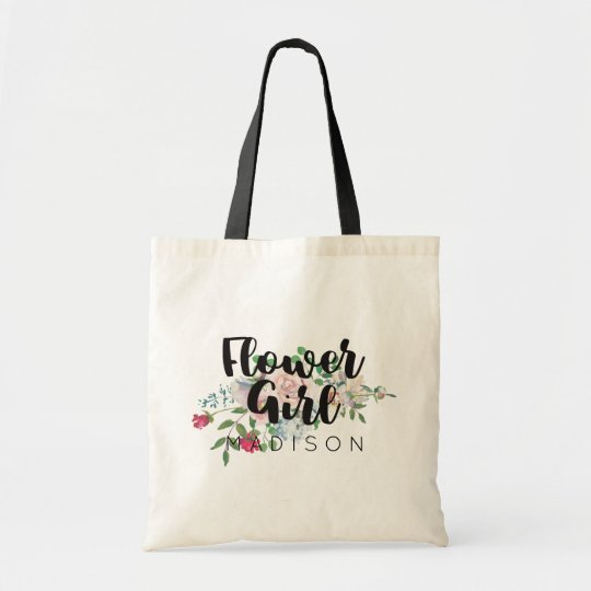 Blushing Rose Watercolor Wedding Flower Girl Tote Bag