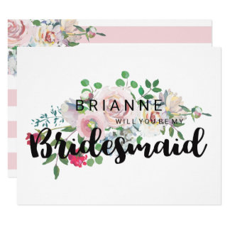 Blushing Rose Watercolor Will You Be My Bridesmaid Card