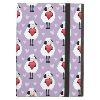 Blushing Sheep & Purple Hearts Pattern iPad Air Cover